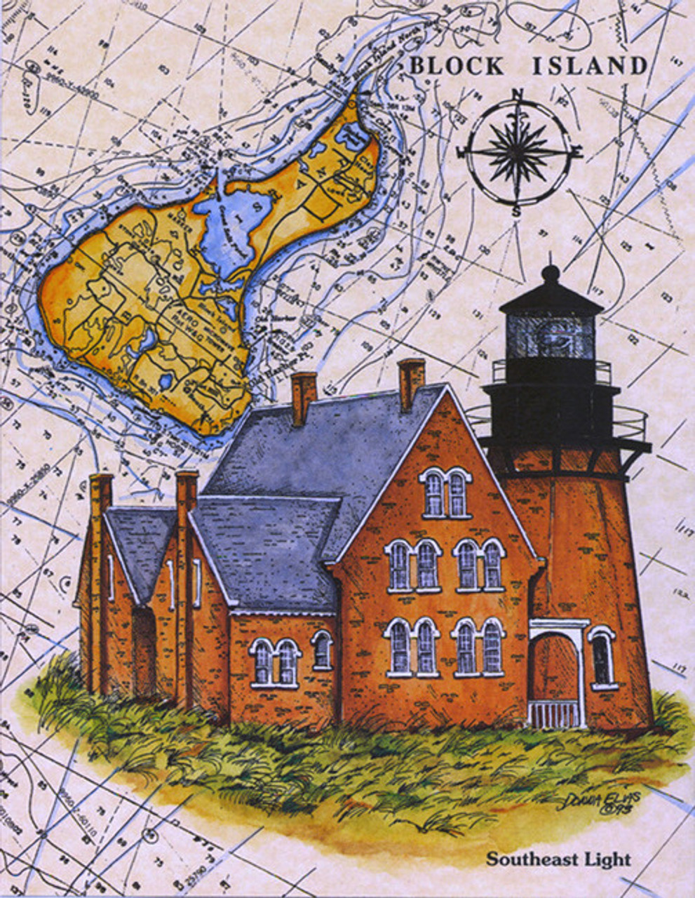 Block Island South East Lighthouse Sea Chart