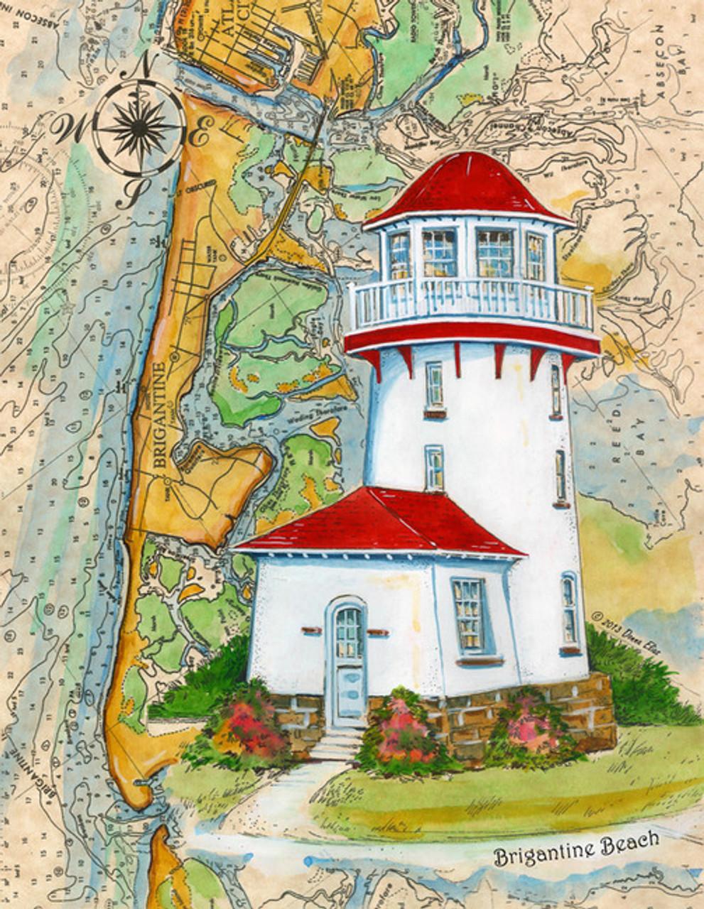 Brigantine Beach Lighthouse Sea Chart