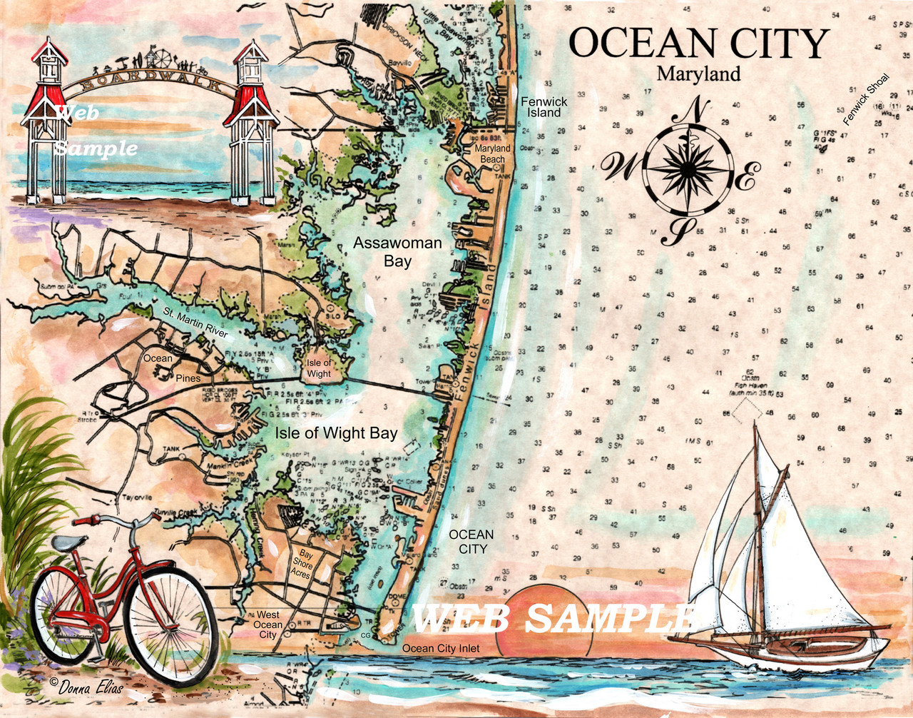 Charting Ocean City, Maryland by Donna Elias