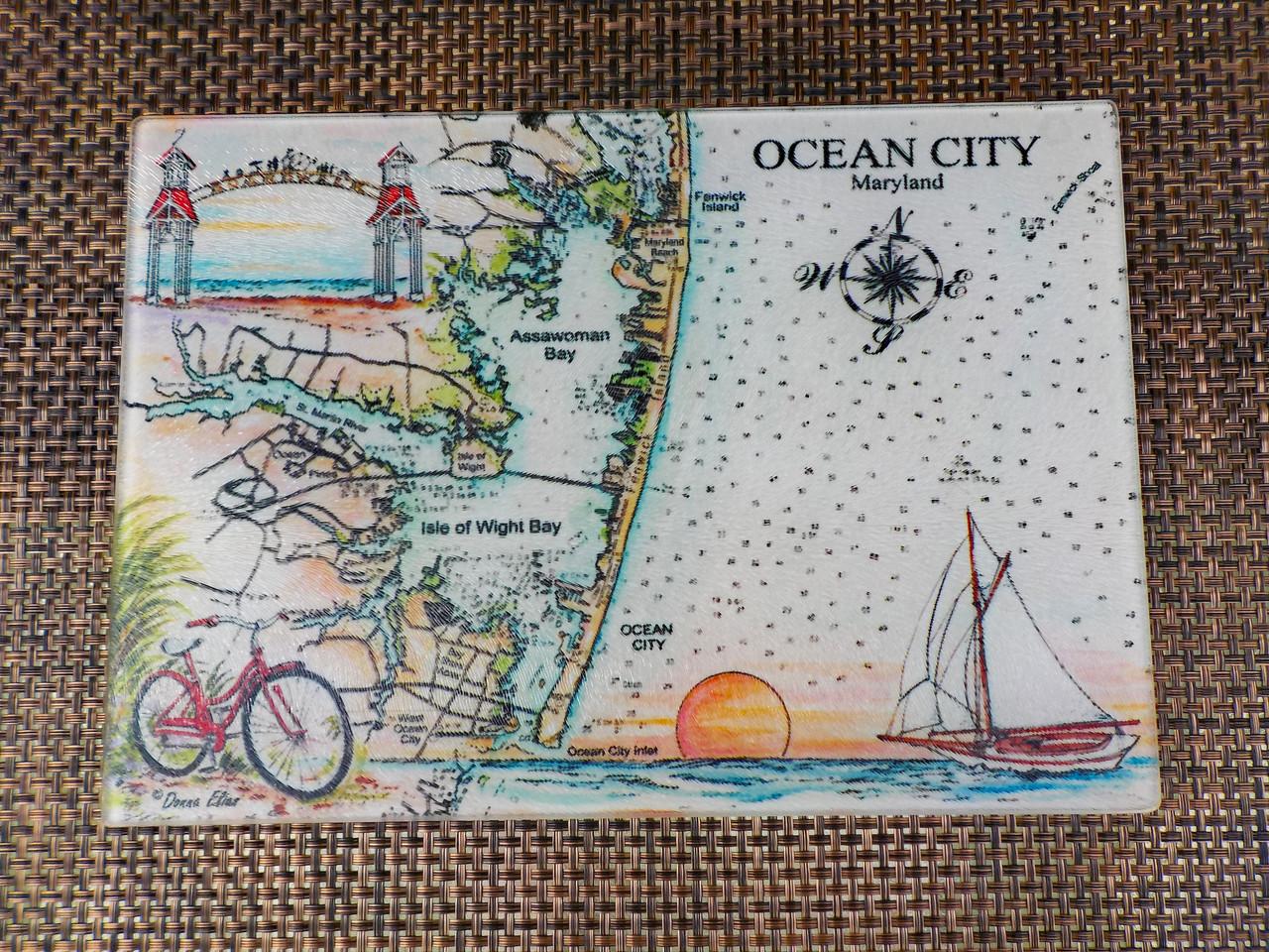Charting Ocean City, Maryland cutting board