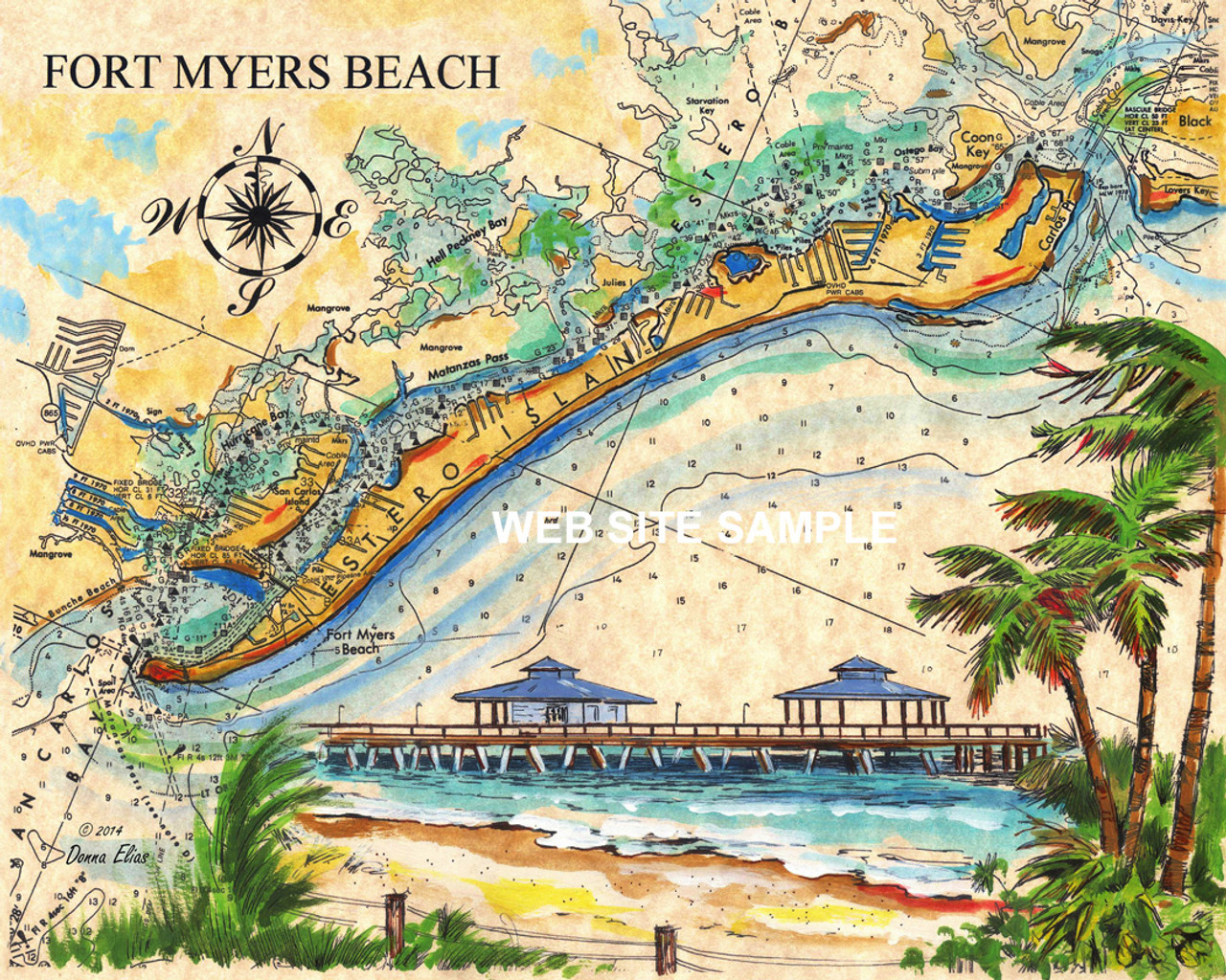 Charting Fort Myers Beach copyright Donna Elias