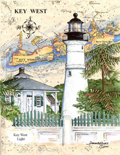 Key West Sea Chart Light by Donna Elias