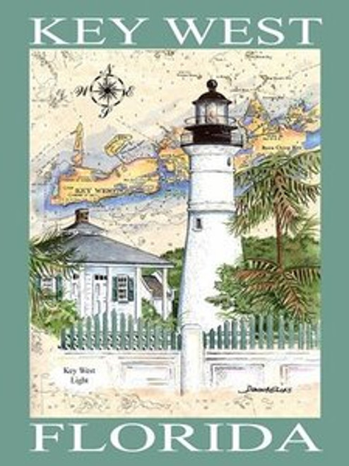 Key West Lighthouse Sea Chart Poster