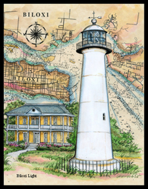 Biloxi Lighthouse Sea Chart