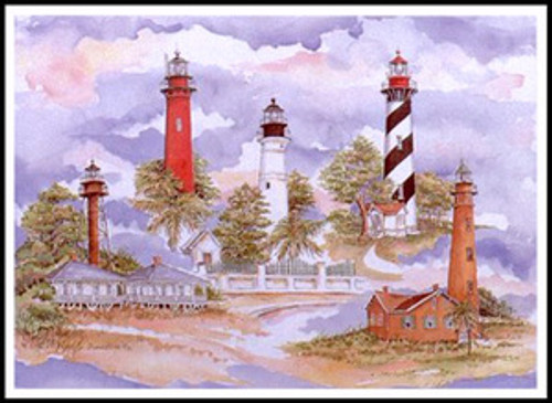 "Florida Lighthouses - 19"" x 26"" Fine Art Print"