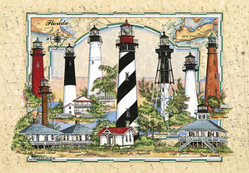 Lighthouses of Florida - Sea Chart Collage by Donna Elias