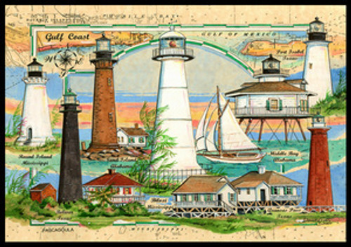 Lighthouses of the Gulf of Mexico Sea Chart Collage by Donna Elias