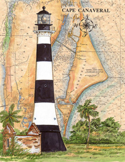 Cape Canaveral Sea Chart Light by Donna Elias