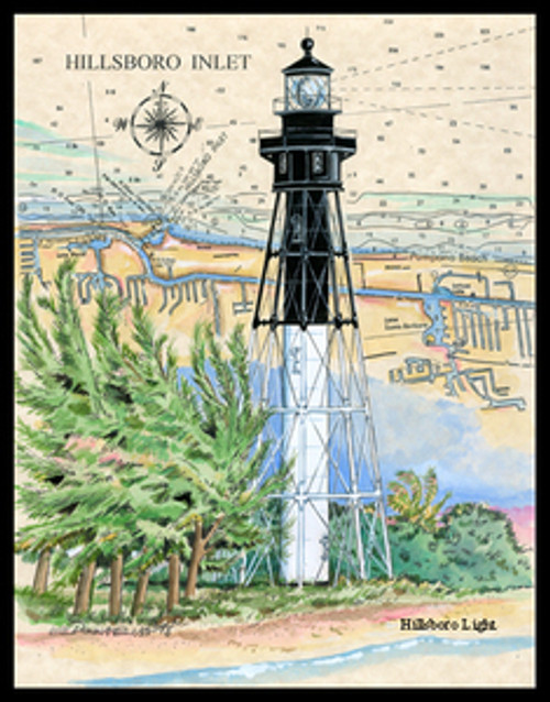 Hillsboro Inlet Sea Chart Lighthouse by Donna Elias
