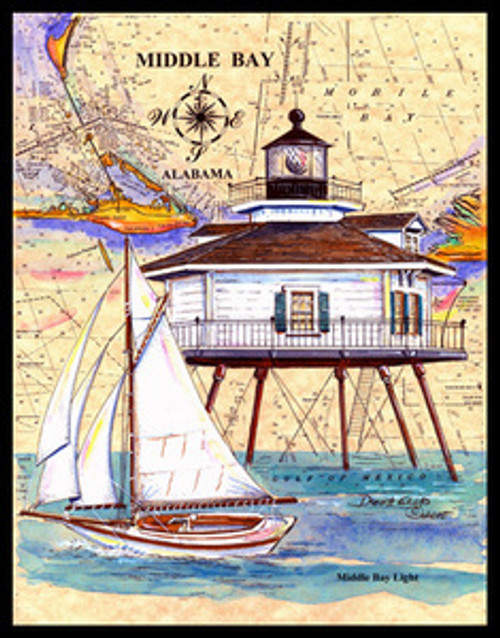 Middle Bay Lighthouse Sea Chart