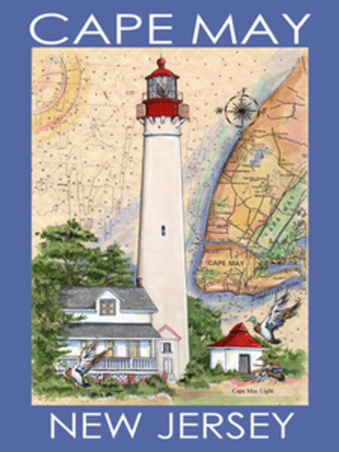 Cape May Lighthouse Sea Chart Poster Blue