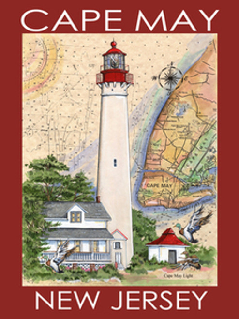 Cape May Lighthouse Sea Chart Poster Red