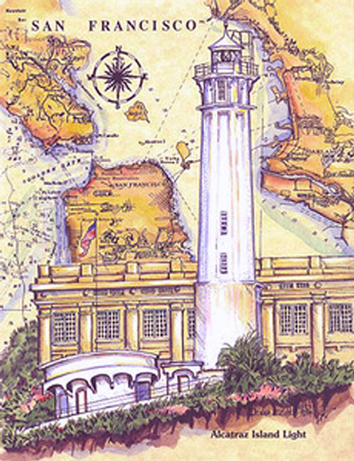 Alcatraz Sea Chart Light copyright Donna Elias