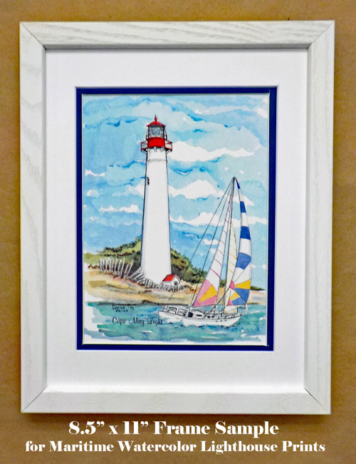 "Frame and matting sample shown with ""Cape May Lighthouse"""