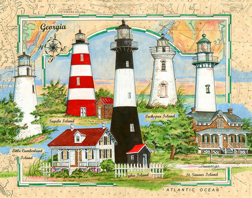 Lighthouses of Georgia Sea Chart Collage by Donna Elias