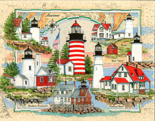 Lighthouses of Maine Sea Chart Light Collage by Donna Elias