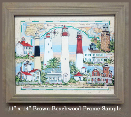 Maine Lighthouses Sea Chart Collage