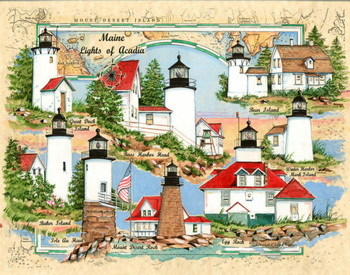 Lights of Acadia National Park Sea Chart Collage by Donna Elias