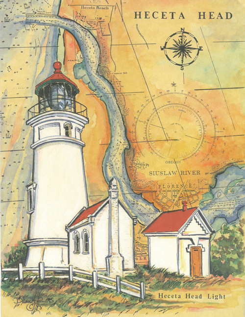Heceta Head Lighthouse Sea Chart