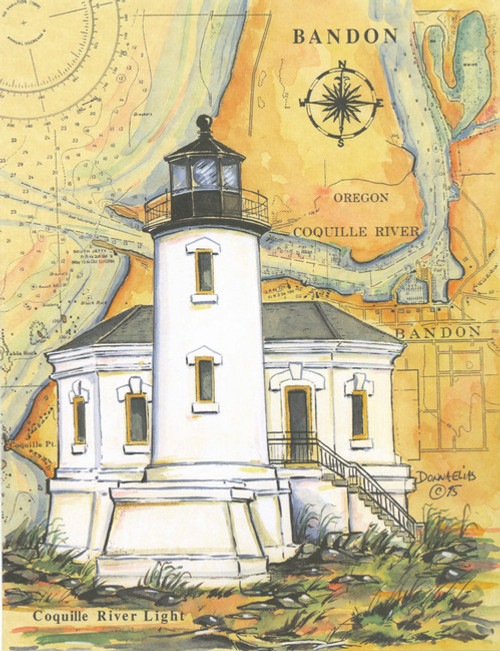 Coquille River Lighthouse, Bandon Sea Chart