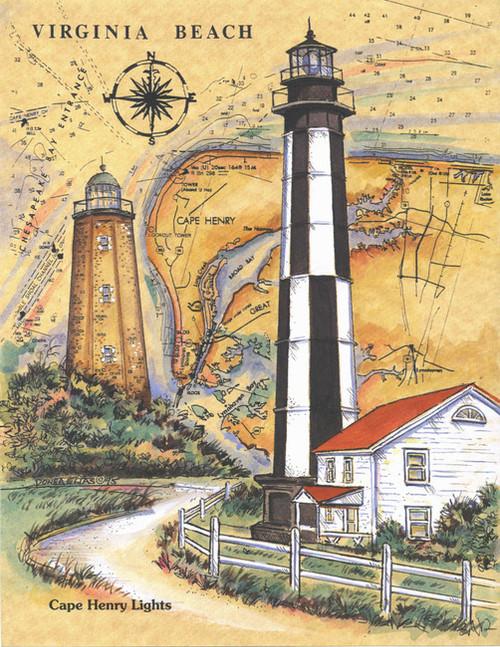 Cape Henry Lighthouses Sea Chart