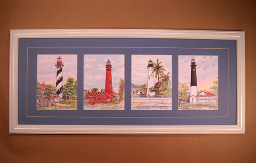 "Florida Lighthouses - 4 Prints Custom Framed 12"" x 30"""