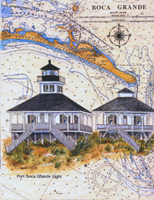 Boca Grande Sea Chart Light by Donna Elias