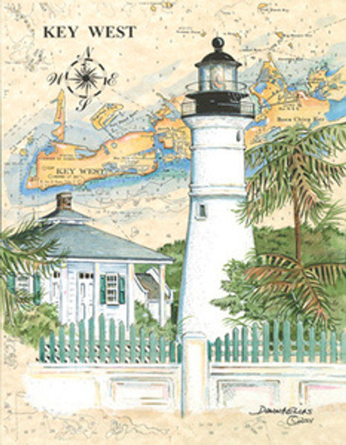 Florida Lighthouses Collection - 10 Sea Chart Light Prints