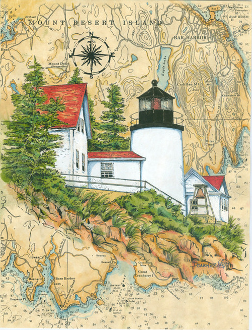 Bass Harbor Head Sea Chart Light Original Painting