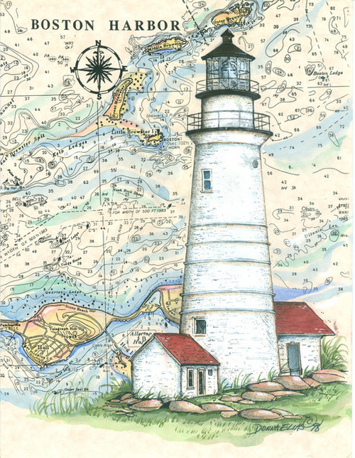 Boston Sea Chart Light Original Painting