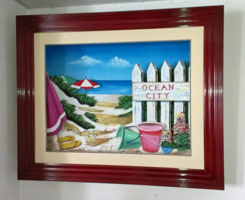 Ocean City 3-D Shadow Box Large Framed Wall Sculpture