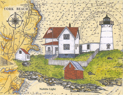 "Cape Neddick ""Nubble"" Lighthouse Sea Chart"