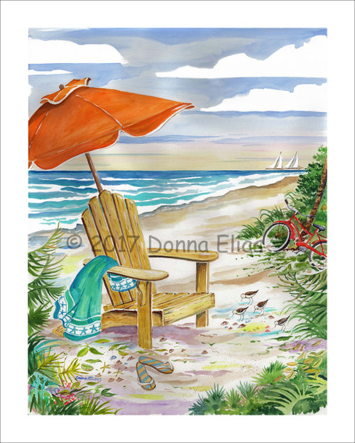 Beach Chair with Green Towel © 2017 Donna Elias
