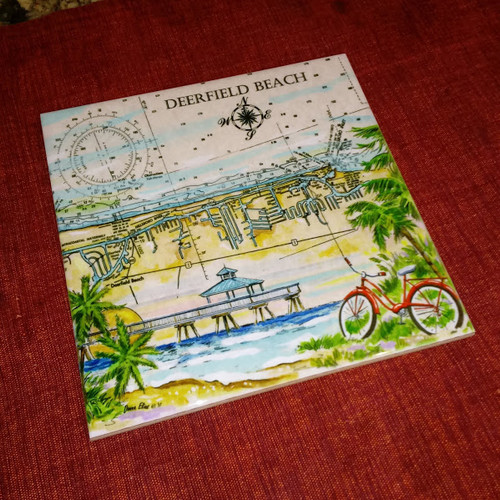 Deerfield Beach Sea Chart Tile by Donna Elias