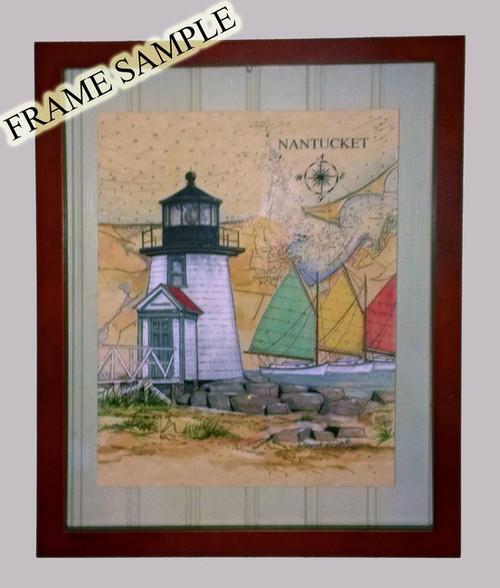 Straits of Mackinac, Michigan ~ ORIGINAL Sea Chart Light Collage Painting
