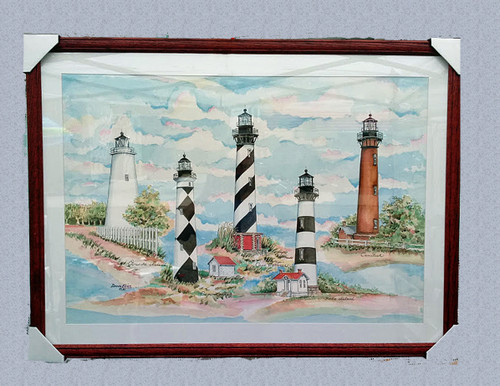North Carolina's Outer Banks Lighthouses - Original Watercolor Painting