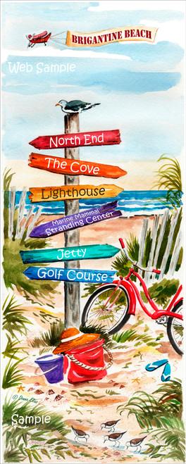 Brigantine Beach Sign Post by Donna Elias