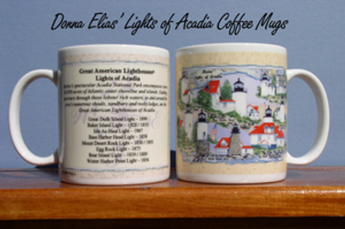 Acadia National Park Lighthouses Coffee Mugs by Donna Elias