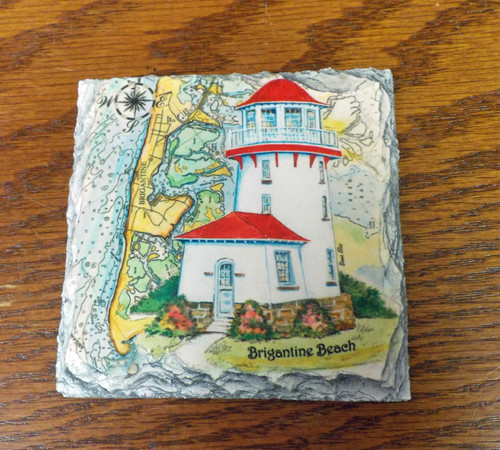 Brigantine Sea Chart Lighthouse - 4 Slate Drink Coasters