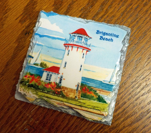 Brigantine  Lighthouse - 4 Slate Drink Coasters