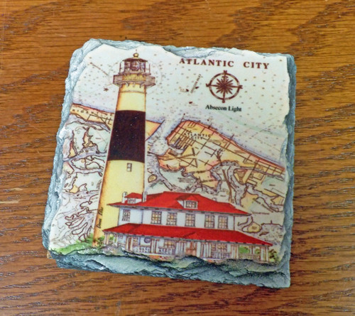 Absecon Sea Chart Lighthouse - 4 Slate Drink Coasters