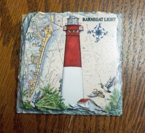 Barnegat Sea Chart Lighthouse - 4 Slate Drink Coasters