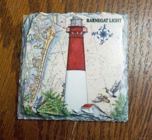 Barnegat Sea Chart Lighthouse - 4 Slate Drink Coasters