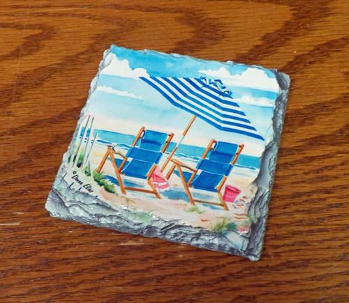 Oceanview Two  - 4 Slate Drink Coasters