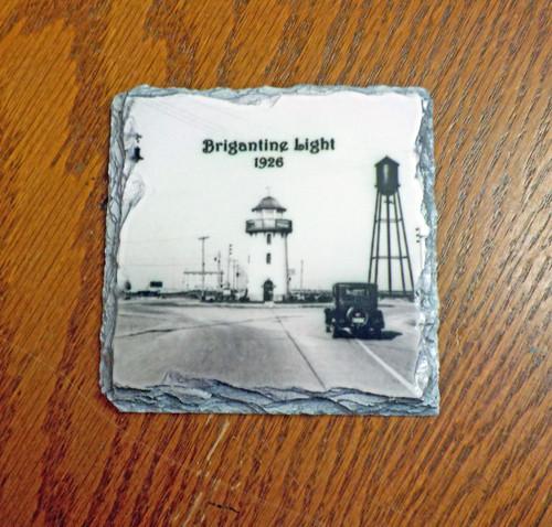 Brigantine Lighthouse Old Photo  - 4 Slate Drink Coasters