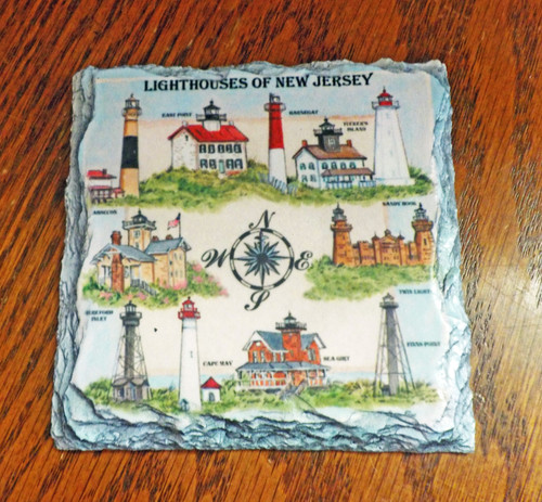 Lighthouses of New Jersey - 4 Slate Drink Coasters
