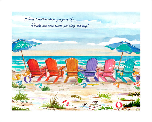 Six Chairs with Umbrellas - Personalize with six to eleven names