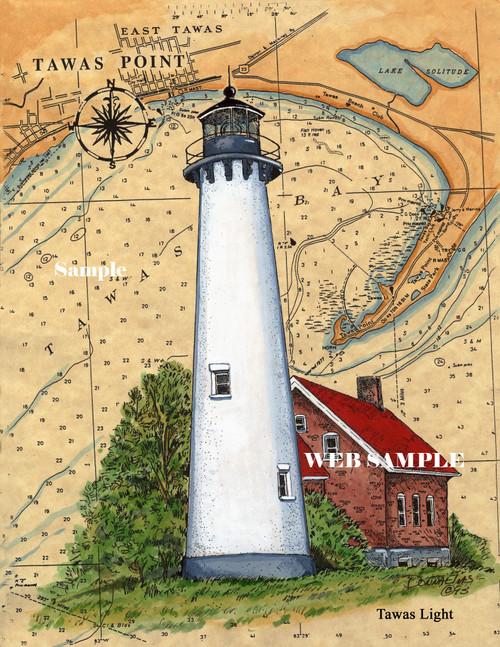 Tawas Point Sea Chart Lighthouse copyright Donna Elias