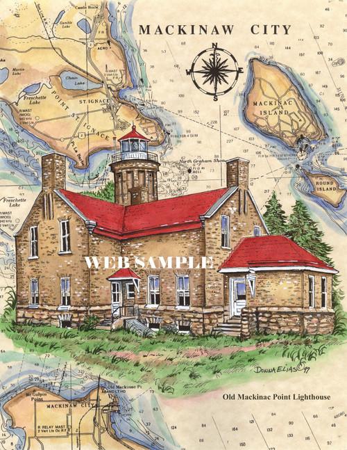 Old Mackinac Point Sea Chart Lighthouse copyright Donna Elias