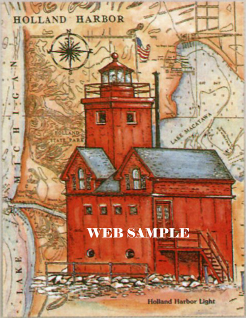 Holland Harbor Sea Chart Lighthouse copyright Donna Elias